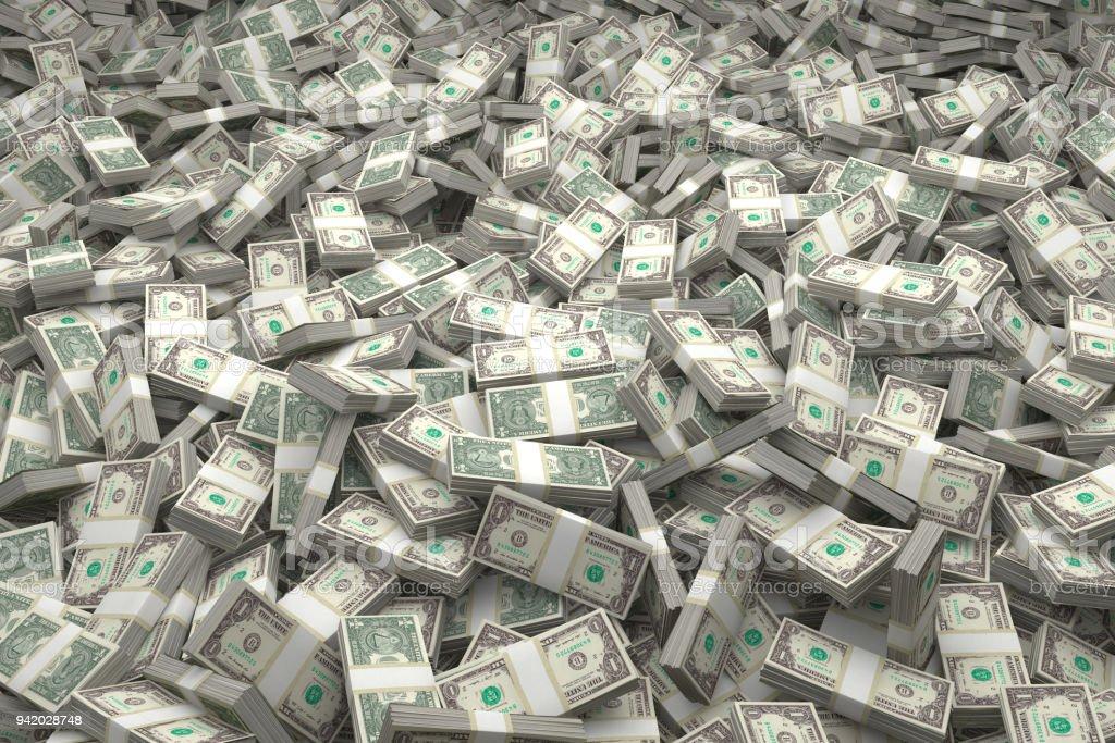 Money Piles Bundles of the latest $1 US Dollars Bills - Full Set of all bills stock photo