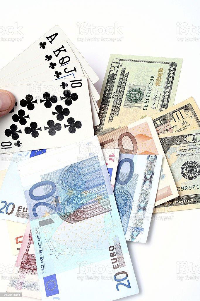 Pieniądze karty do gry zbiór zdjęć royalty-free