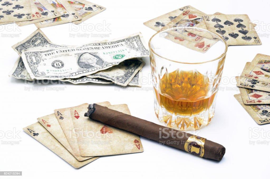Money Poker Whiskey stock photo