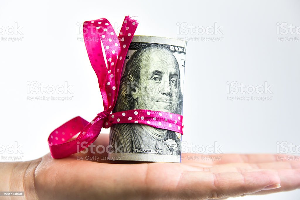 Money present on the hand royalty-free stock photo