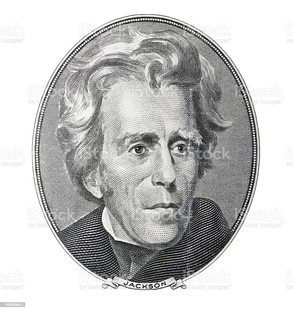 Money. President Andrew Jackson portrait stock photo