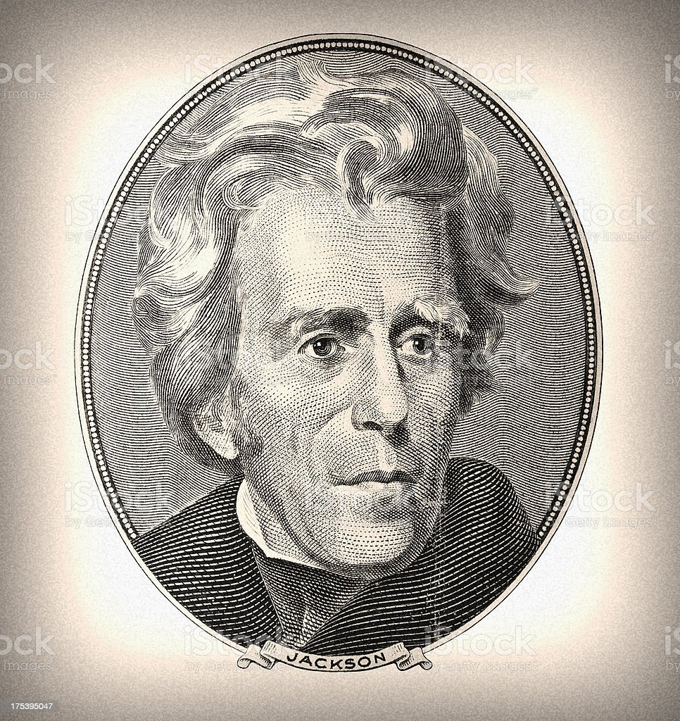 Money. President Andrew Jackson retro portrait stock photo