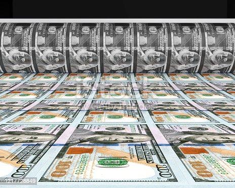 Money Printing 100 US Dollar Banknotes Illustration. 3D render