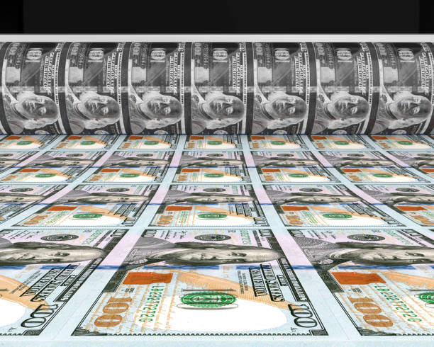 Money Printing 100 US Dollar Banknotes Money Printing 100 US Dollar Banknotes Illustration. 3D render bailout stock pictures, royalty-free photos & images