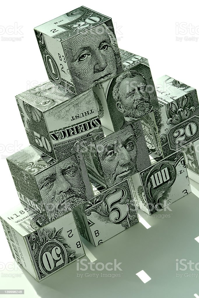 Money pyramid-financial concept royalty-free stock photo