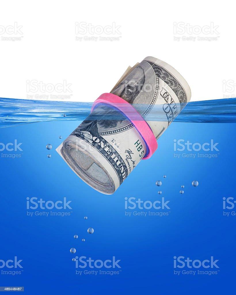 Fajo de billetes flotante. - foto de stock