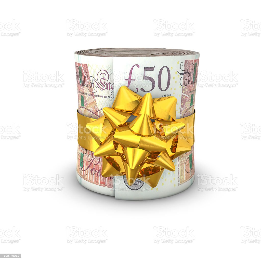 Money roll gift pounds stock photo