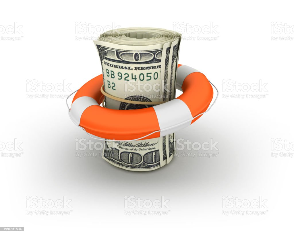 Money Roll of One Hundred Dollar Bills with Life Belt - 3D Rendering stock photo
