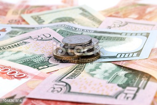 istock Money, ruble, dollars, koruna česká. Holiday concept or business or travel concept. Selective focus, close-up, side view. 1048361814