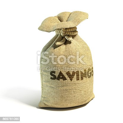 istock Money sack cash with savings 3d rendering isolated illustration 869781090