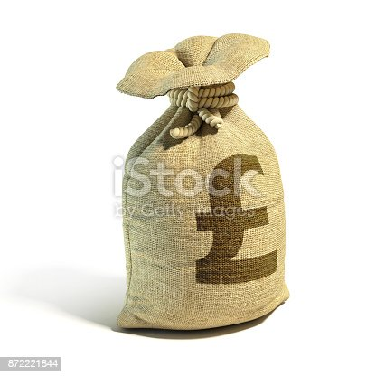 istock Money sack full of pounds with pound sign 3d rendering 872221844