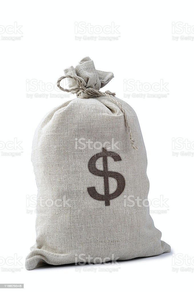 Money sack isolated on a white background royalty-free stock photo