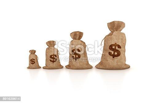 872222012istockphoto Money Sacks of Dollars - 3D Rendering 891639614