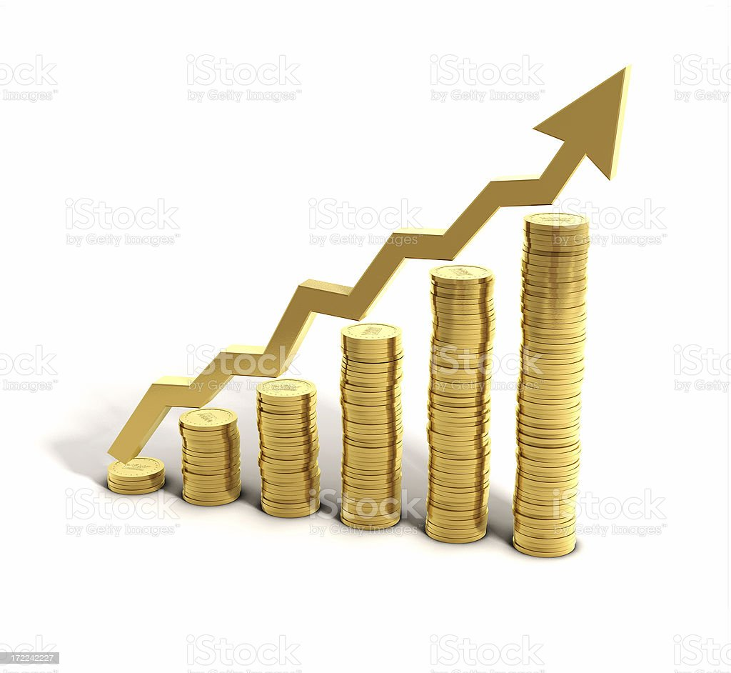 Money Saving Graph Increasing piles of gold coins with arrow on white floor symbolizing growing wealth, rising price, higher interests ect. Gold - Metal Stock Photo