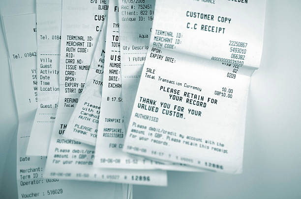 money series - receipt stock photos and pictures