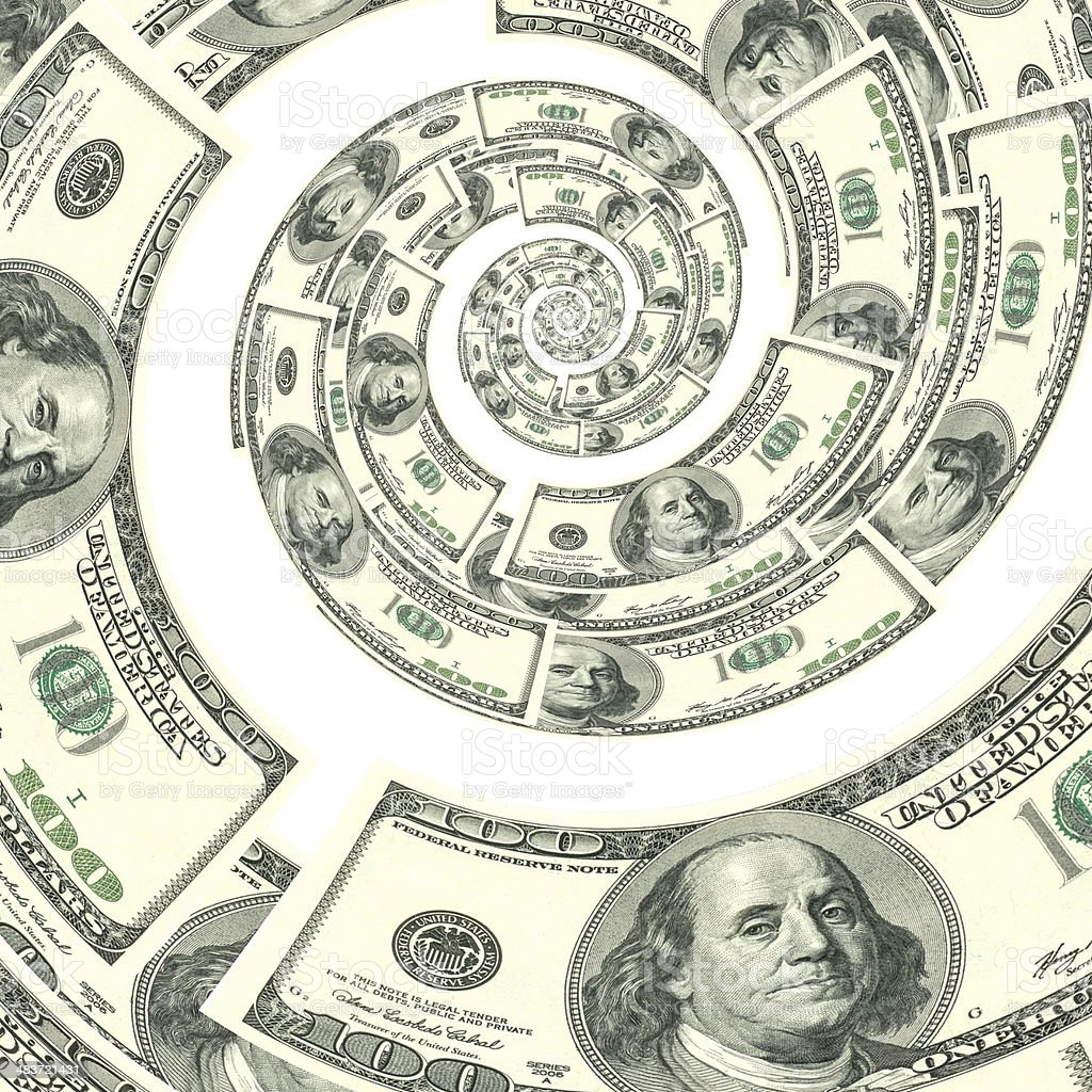 Money spinning down a spiral stock photo