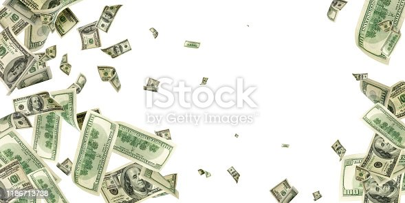 American money. Money falling. Dollar sign. Cash background, us bill.