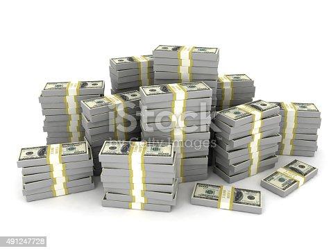 Money stack large amount of us dollars. Isolated on white background