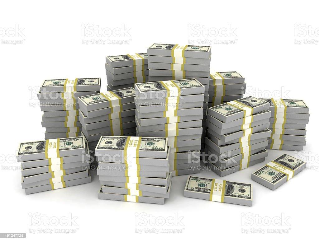 Money stack large amount of us dollars stock photo