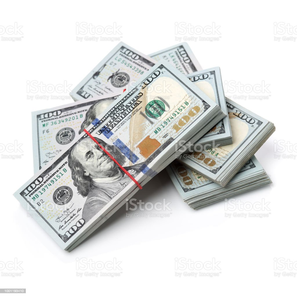 Money Stack On White Background Stock Photo - Download Image