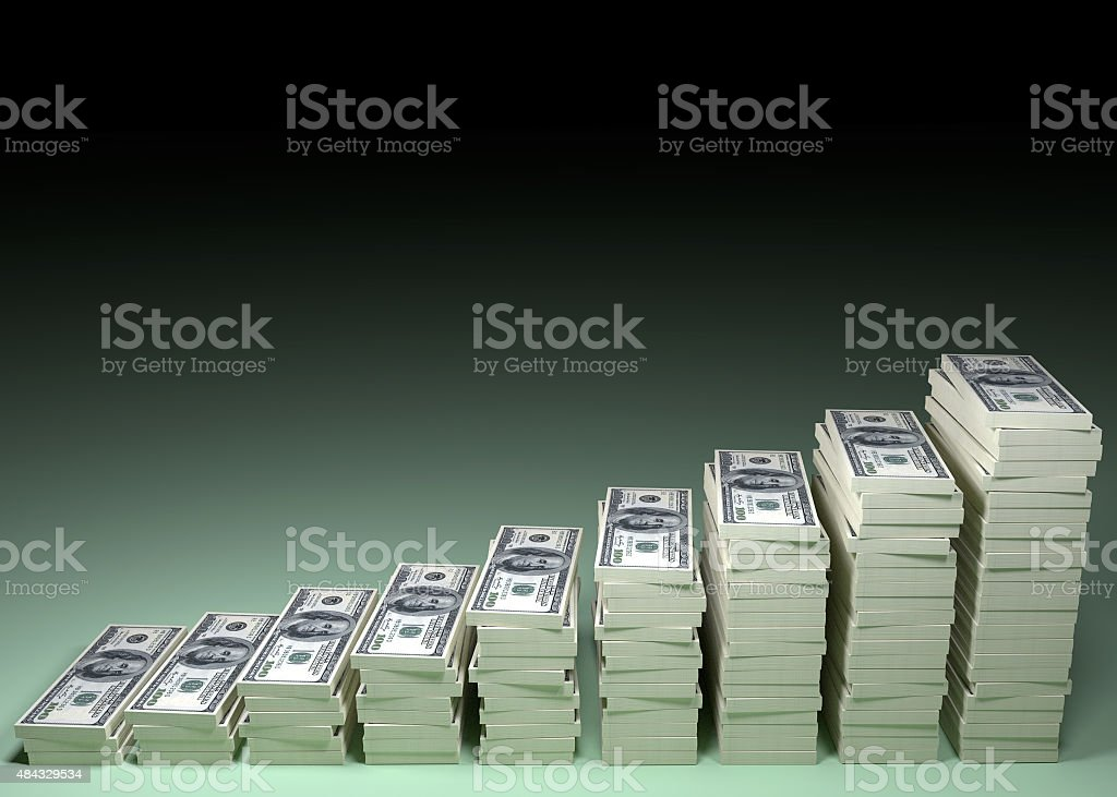 Money stack with black blank space for text stock photo