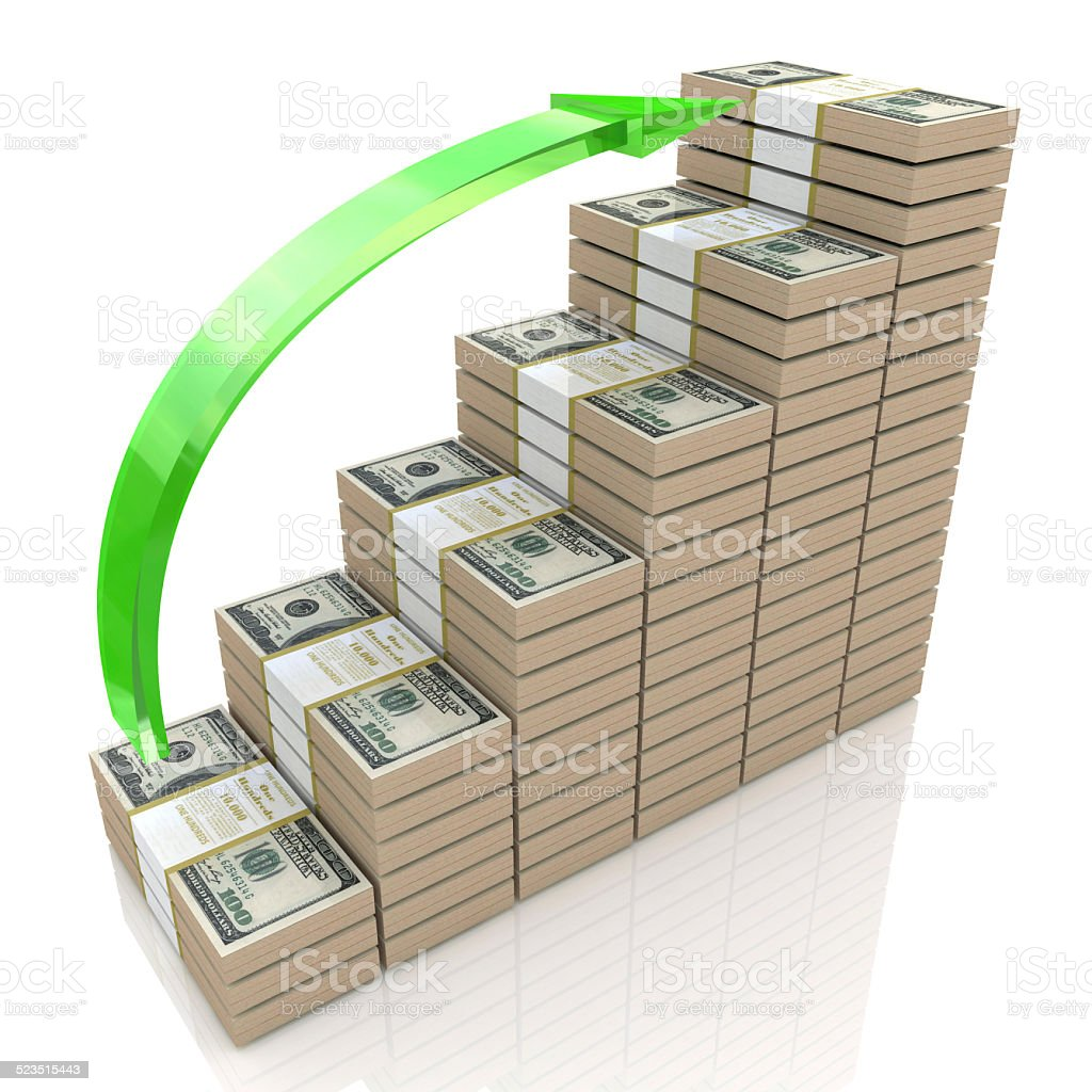 Money stacks graph. One hundred dollars stock photo
