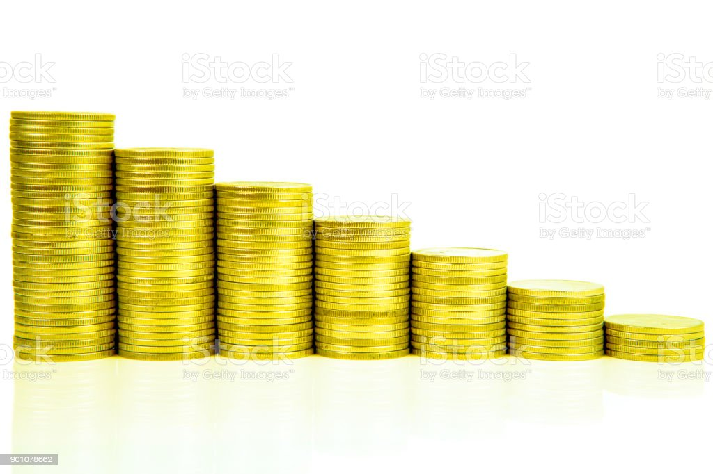 Money Stairs Increasing Columns Of Coins Step Of Stacks Coin
