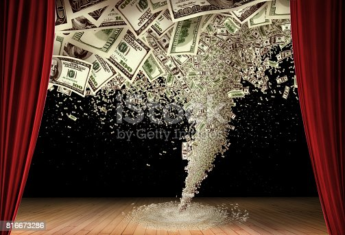 conceptual image of money tornado on stage