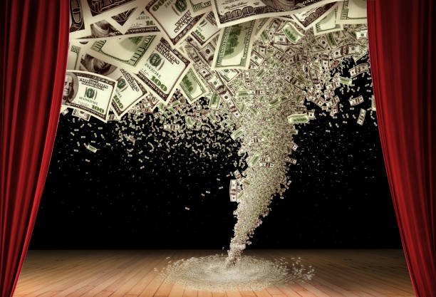 money storm on stage - money black background stock photos and pictures