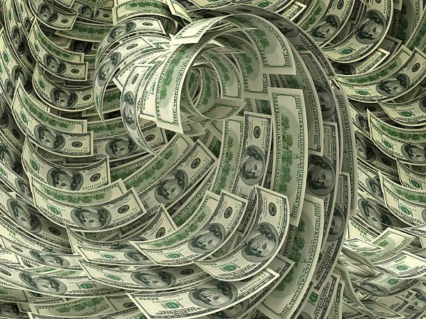 Money storm stock photo
