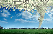 digitally generated image of money storm over city.