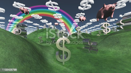 istock Money success fantasy landscape with floatin pigs 1133405799