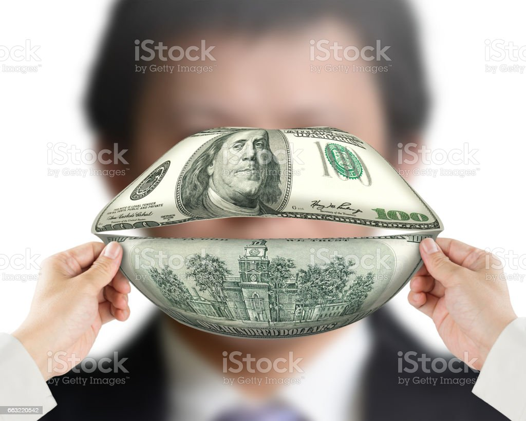 Money talks concept stock photo