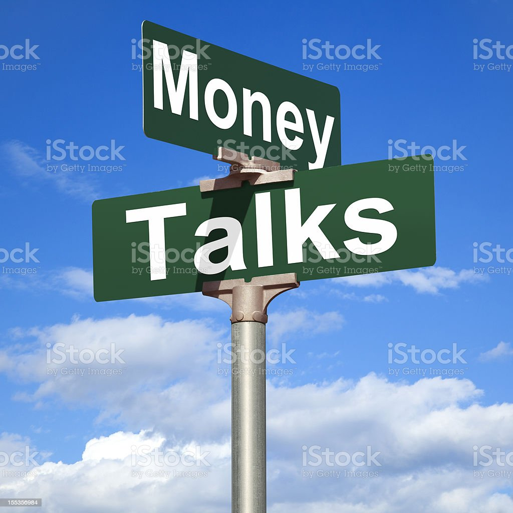 Money Talks Street Sign stock photo