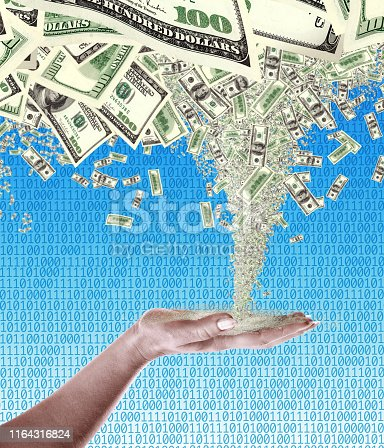 conceptual finance image of storm of money tornado in close up female palm of hand over binary code of one and zero