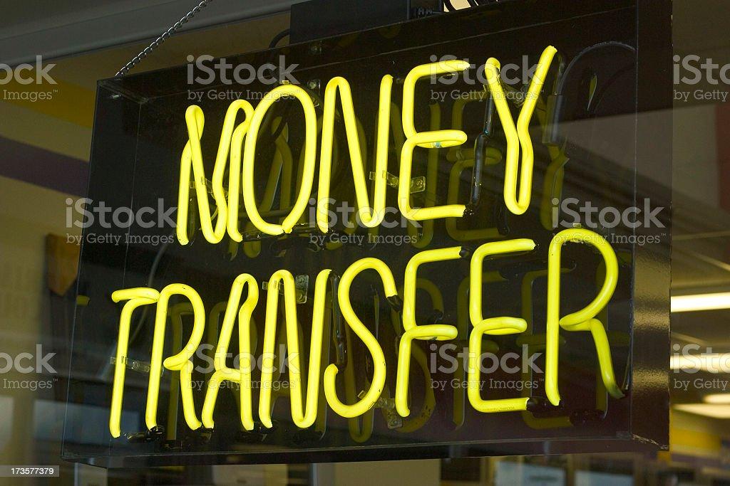 Money Transfer Neon stock photo