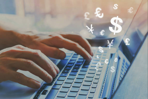 money transfer online, send funds, currency exchange stock photo