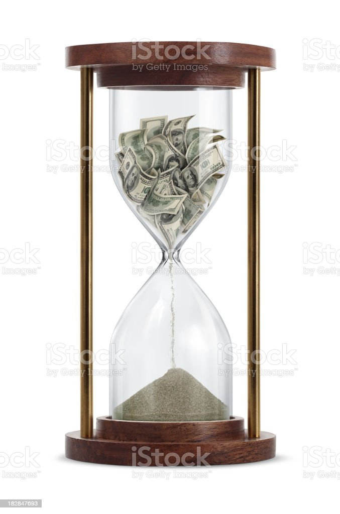 Money Transform in Hourglass Time is money: One hundred-dollar bills inside the hourglass and transform into a sand. American One Hundred Dollar Bill Stock Photo