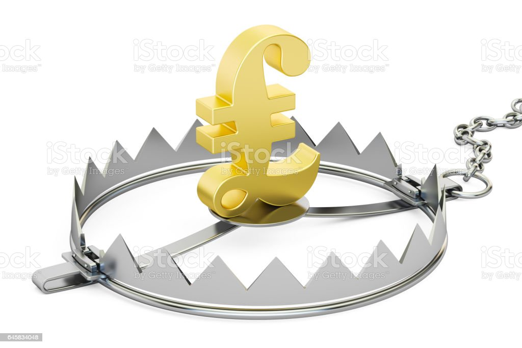 Money Trap With Symbol Of Pound Sterling 3d Rendering Stock Photo