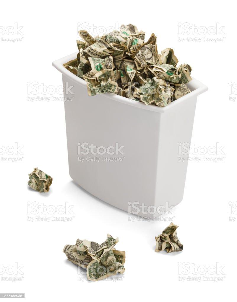 Money Trash Can stock photo