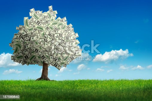 digitally generated image of money tree over clear sky.