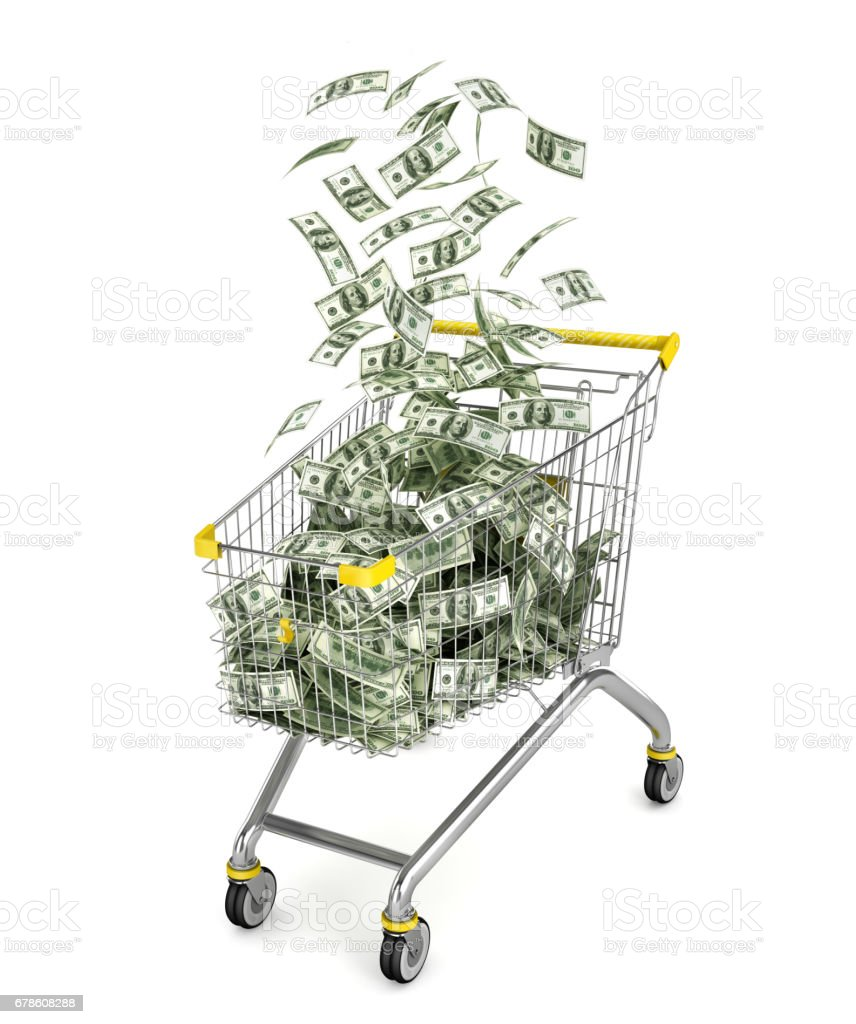 Money Trolley. Shopping cart full of money bills. 3d illustration vector art illustration