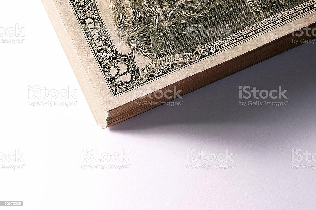 money. Two dollars. stock photo