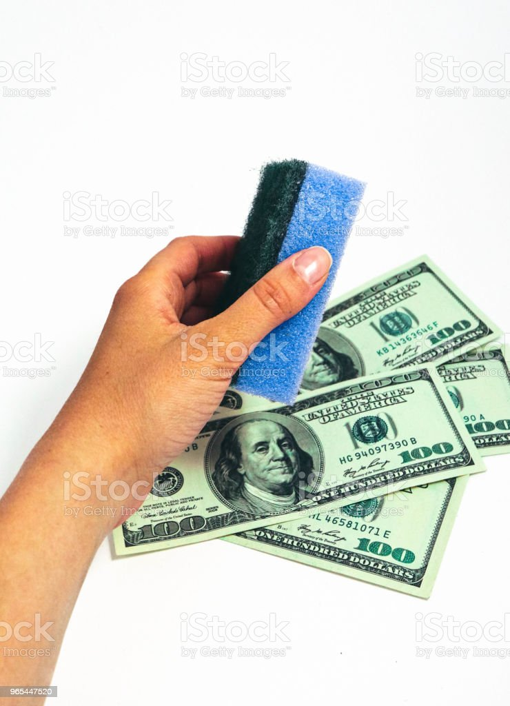 Money wash laundry, corruption concept. American dollars cleaning with washing sponge in a female hand. - Zbiór zdjęć royalty-free (Bank)