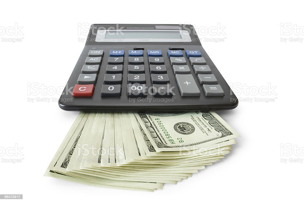 Denaro con Calcolatrice foto stock royalty-free