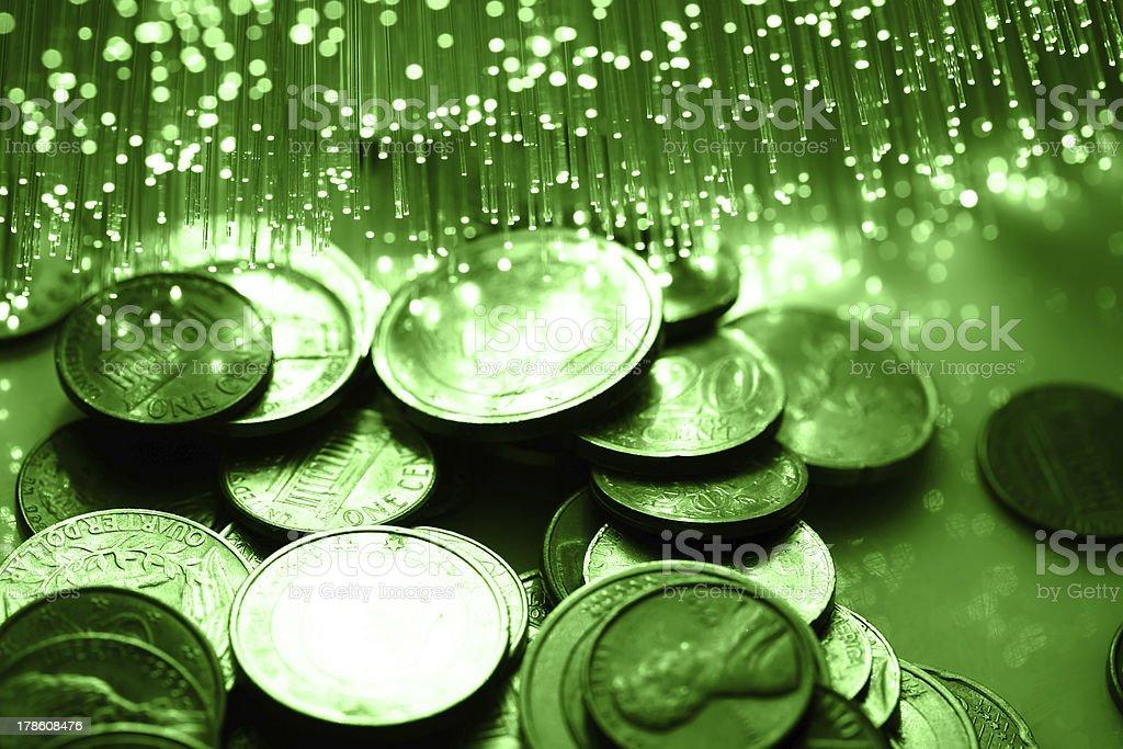 money with Fiber optics stock photo