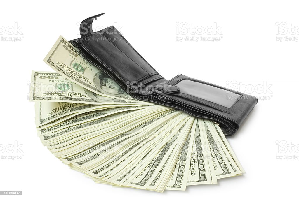 money with wallet isolated royalty-free stock photo