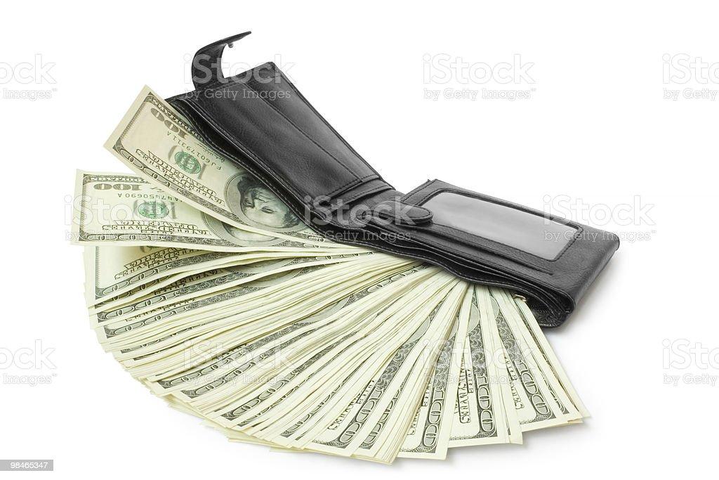 Portafoglio con soldi isolato foto stock royalty-free