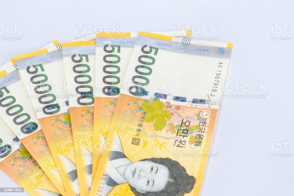 Money won South Korea stock photo