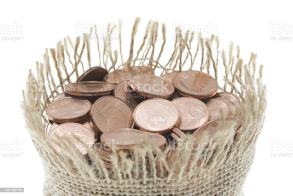 Moneybag full of coins royalty-free stock photo